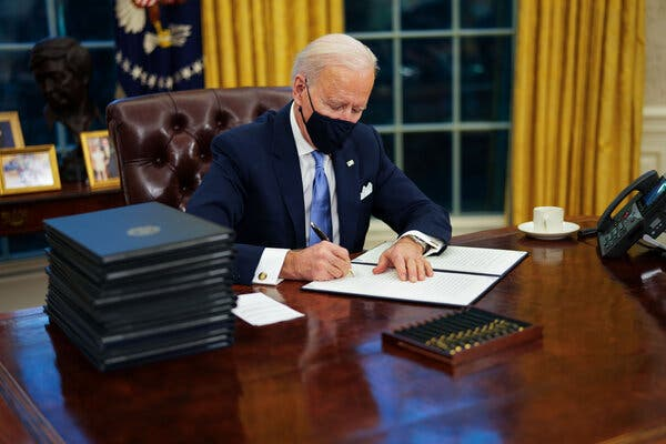 President Biden Signs a 17 Executive Orders the first day in office to undo Trump's policies